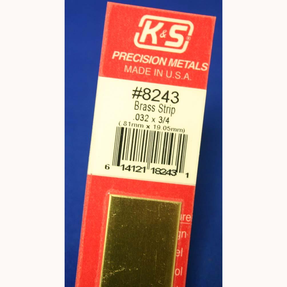 "K /& S PRECISION METALS 8243 .032 x 3//4 x 12 Brass Strip 032/"" x 3//4/"" x 12/"" New"
